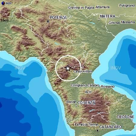 Scossa sismica nell'area del Pollino Registrata alle 4.10 con magnitudo 3.2