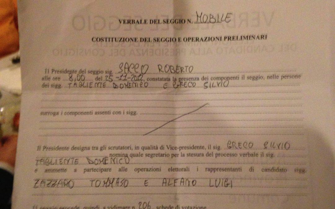 """Il verbale del """"seggio mobile"""" di Cosenza che ha fatto litigare il centrosinistra"""