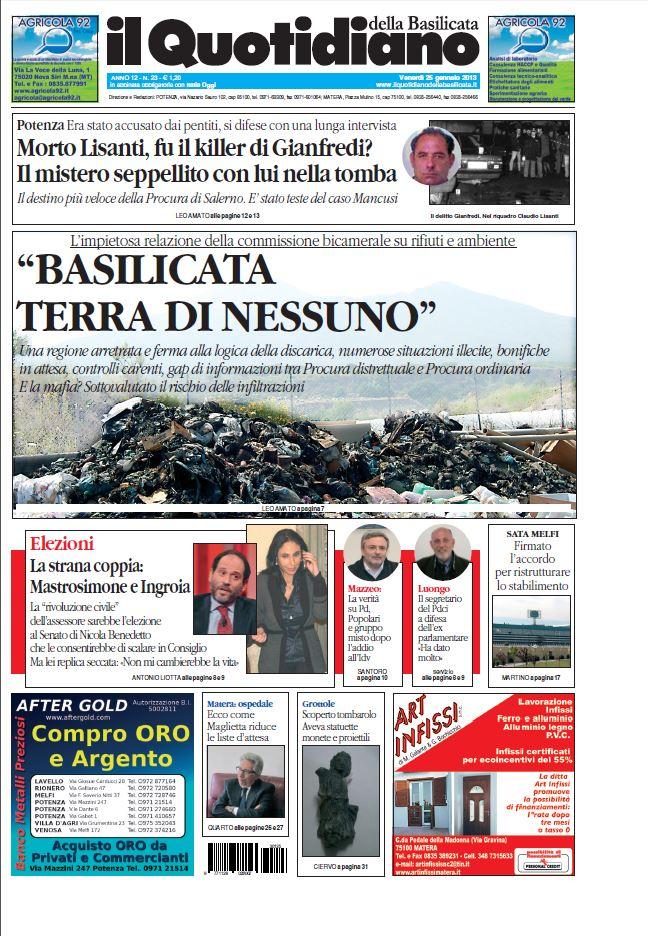 Dodici mesi di Basilicata in prima pagina Le storie e i personaggi del 2013
