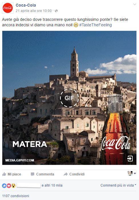 Anche Coca Cola tifa per i Sassi, su fb l'invitoa visitare Matera capitale del turismo culturale