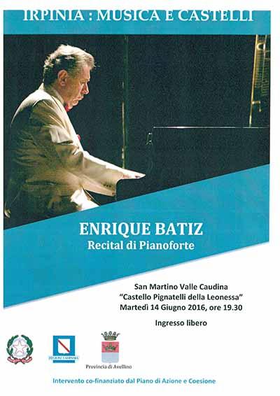 """Irpinia: Musica e Castelli"", domani concerto di Enrique Batiz a San Martino Valle Caudinaa"