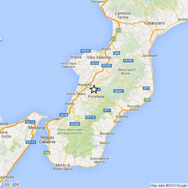 Scossa di terremoto in provincia di Reggio CalabriaRegistrata in serata una magnitudo pari a 3.1