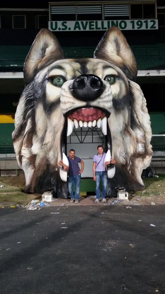 Avellino, un lupo ad accogliere i giocatori in campo