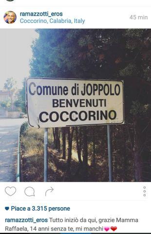Eros Ramazzotti ricorda le sue origini Vibonesie pubblica una foto del paese di origine della madre