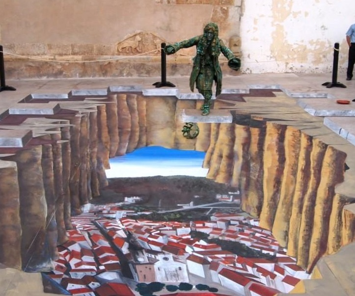 Street painting in 3D a Forenza, la veduta del paese  riprodotta in una straordinaria opera di Jena Soul