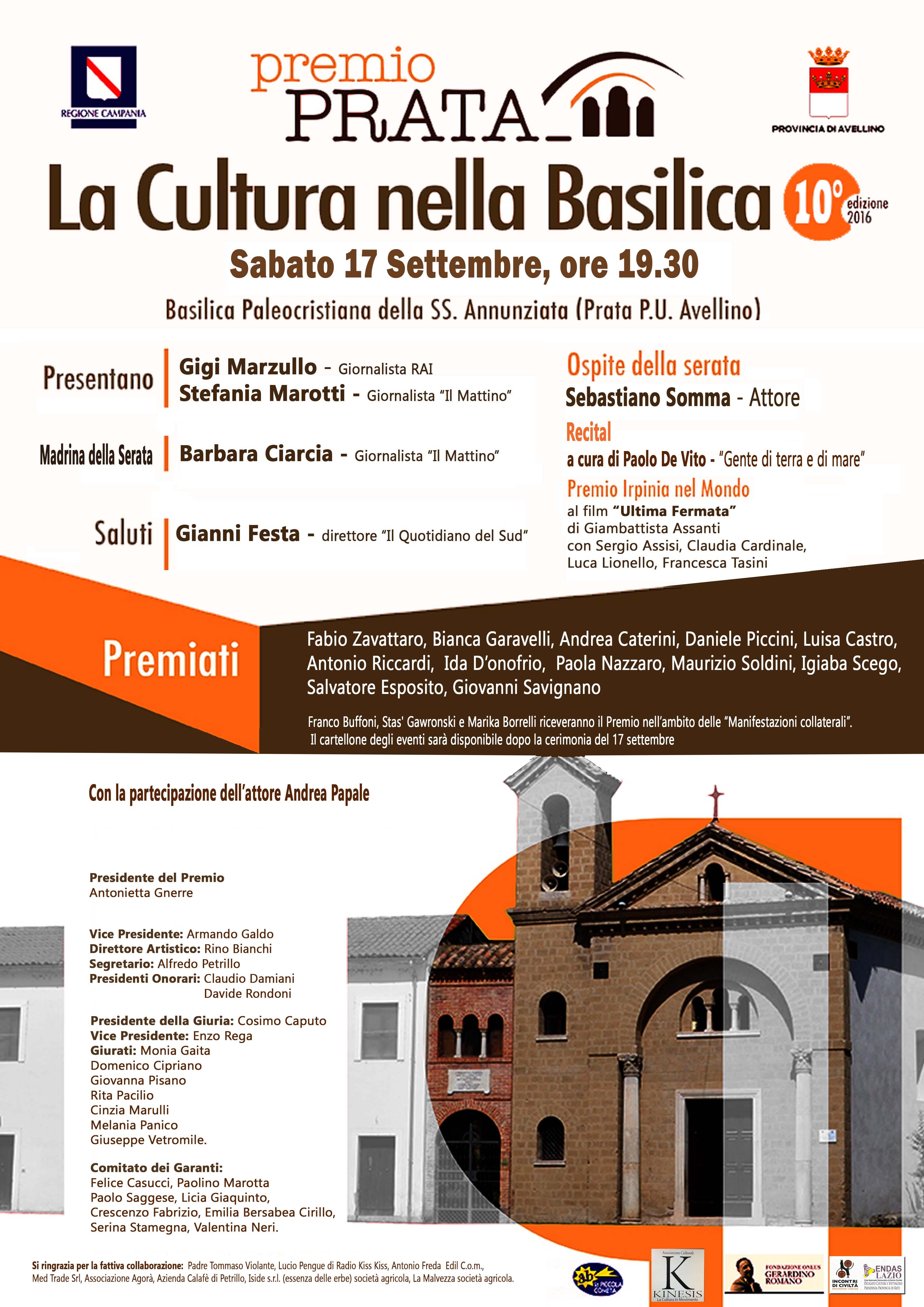 """""""La Cultura nella Basilica"""", a Prata i primi a personalità illustri"""