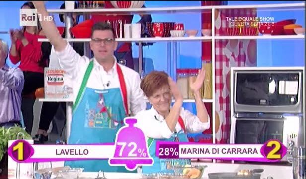 Savino (dell'Antica cantina Forentum) con mamma Lucia nello show di Raiuno