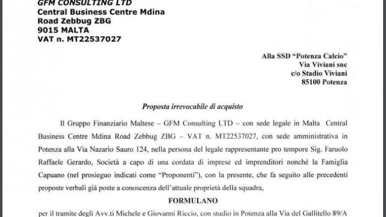 Potenza calcio, un gruppo lucano con sede a Malta formalizza offerta di acquisizione