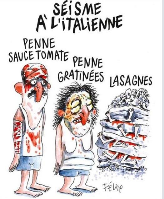 La vgnetta pubblicata da Charlie Hebdo dopo il terremoto di Amatrice e che ha scatenato tante polemiche