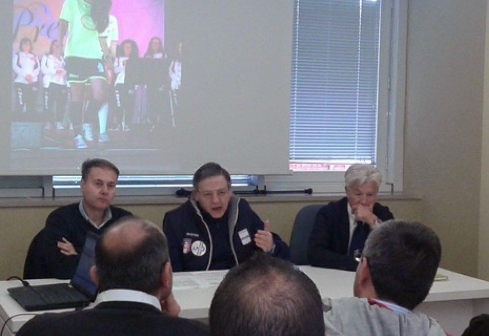Un momento della conferenza stampa sul progetto «Calcio in 3 C» oggi a Potenza