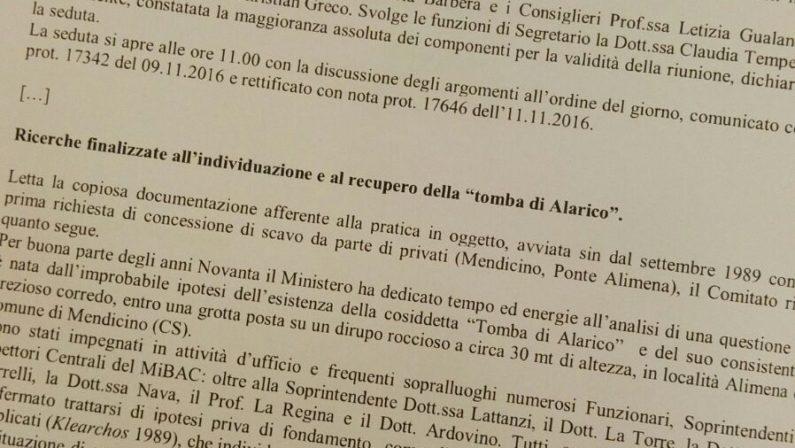 No agli scavi per la tomba di Alarico a CosenzaIl Ministero bacchetta anche il soprintendente