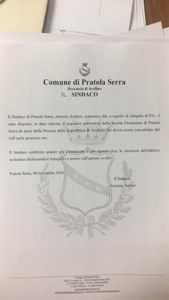 """Scuole irpine nel mirino della Procura: dopo la """"Cocchia"""", sequestri anche a Pratola Serra"""