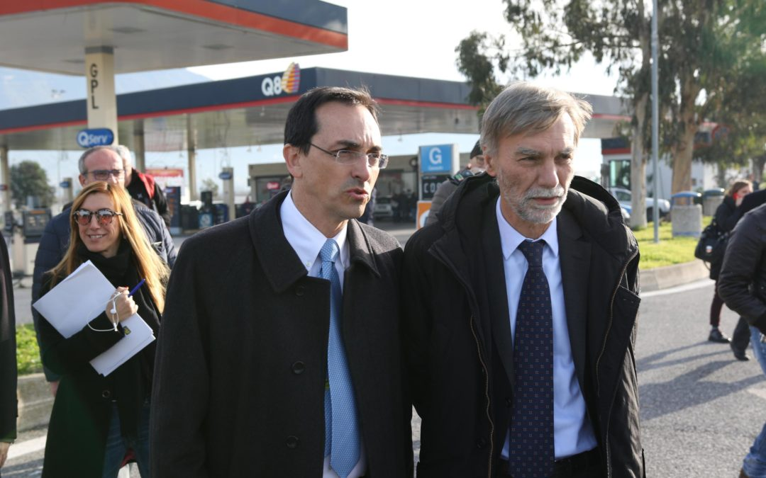 Il presidente dell'Anas Armani e il ministro Delrio