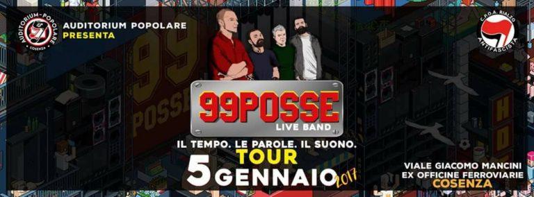 I 99 Posse tornano a Cosenza per un concerto, oggi all'Auditorium Popolare