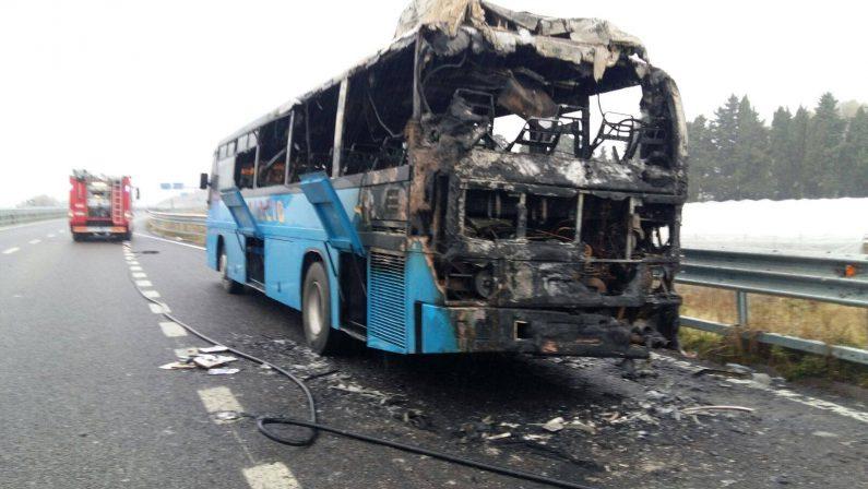 Autobus di linea in fiamme sulla strada statale 106Salvi alcuni studenti della provincia di Cosenza