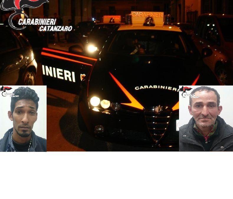 Tentano una rapina in un negozio a Catanzaro Lido  braccati da carabinieri vengono arrestati due uomini