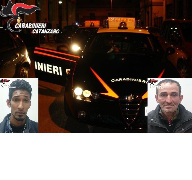 Tentano una rapina in un negozio a Catanzaro Lidobraccati da carabinieri vengono arrestati due uomini
