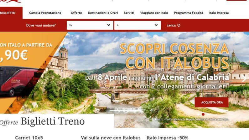 Italo arriva a Cosenza: dall'8 aprile collegamento con l'autobus due volte al giorno