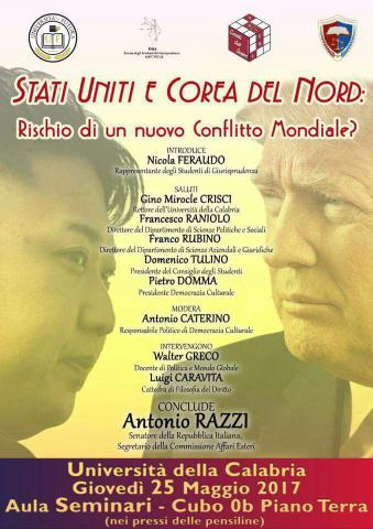 """Il senatore Antonio Razzi in """"cattedra"""" all'Unical  ospite di un convegno su Stati Uniti e Corea del Nord"""