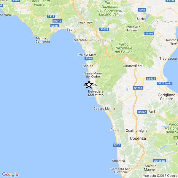 Doppia scossa di terremoto in Calabria: la prima in provincia di Cosenza, la seconda nel mare di Capo Vaticano
