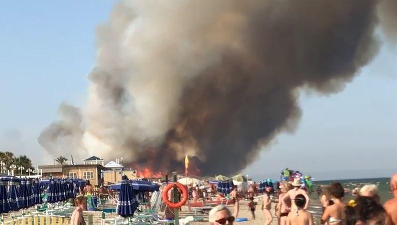 VIDEO – Metaponto, lidi a rischio per l'incendio  Bagnanti assistono all'avvicinarsi delle fiamme