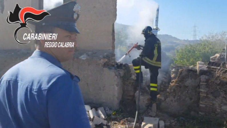 Grave incendio nel Reggino, carabinieri e vigili del fuoco salvano una donna anziana dalle fiamme