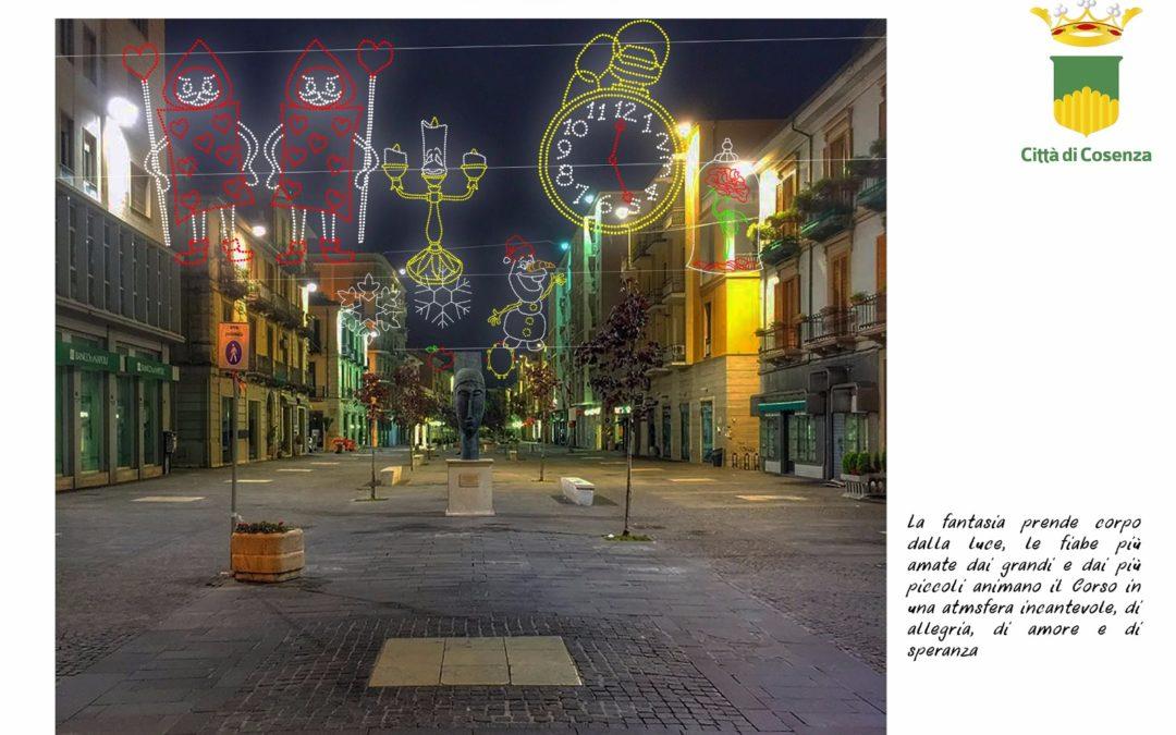 Uno dei rendering del progetto delle luminarie per le feste natalizie a Cosenza