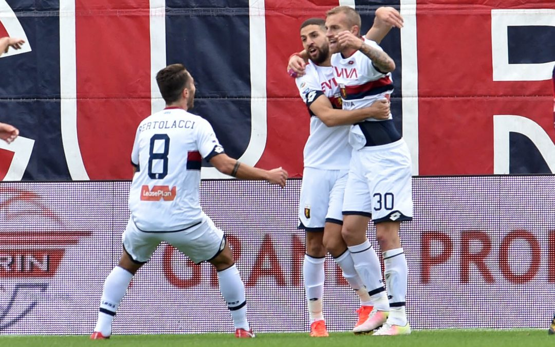 L'esultanza dei giocatori del Genoa