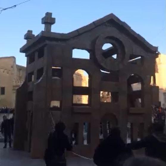 Un anno a Matera capitale europea della Cultura, costruita e distrutta l'opera in cartone di Grossetete