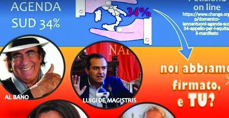"""Investimenti al Sud uguali a quelli per il Nord: la raccolta di firme di """"Agenda Sud 34%"""""""
