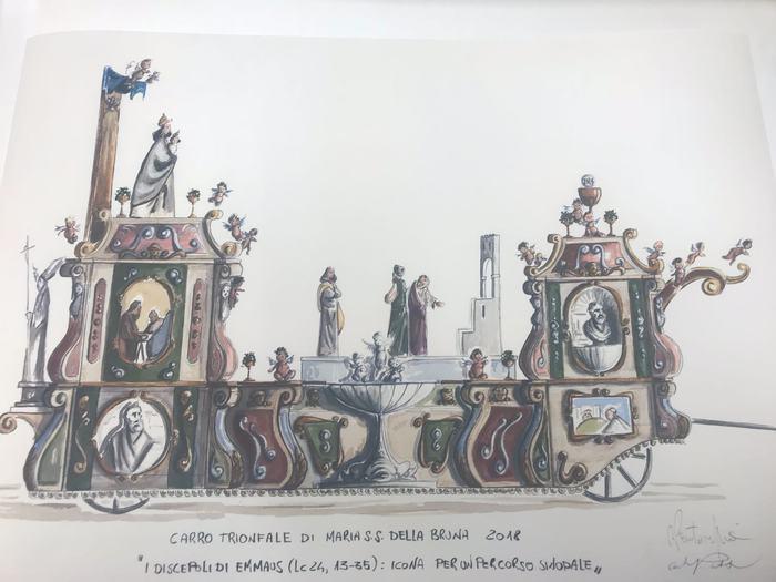 Illustrazione del carro della Bruna dell'edizione 2018