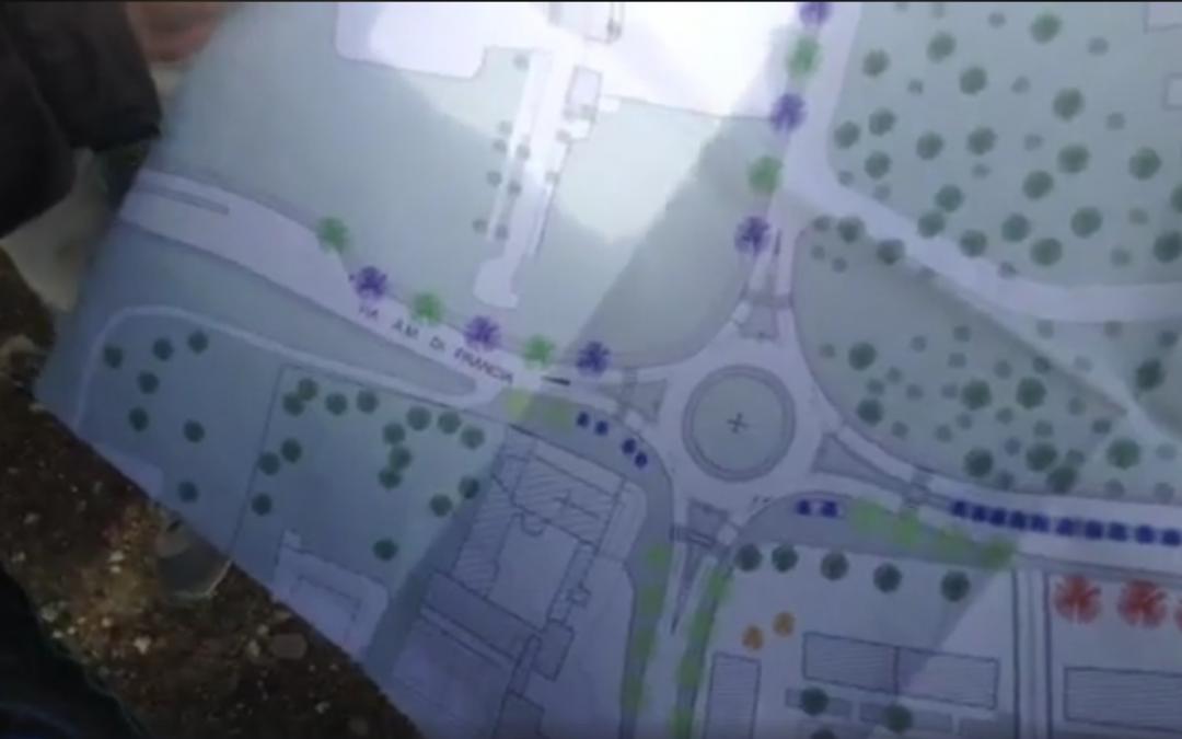 Il progetto di rotatoria che mette a rischio la pineta di rione Lanera a Matera (foto da Youtube)