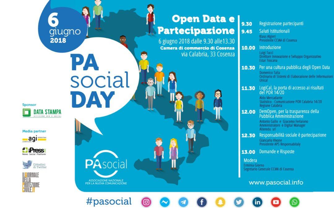 A Cosenza il Pa Social Day, voluto dalla Camera di Commercio  Una giornata per scoprire gli Open Data e la partecipazione