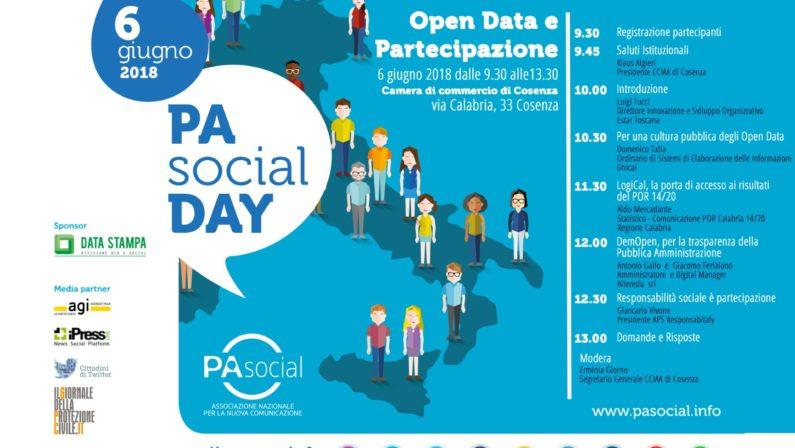 A Cosenza il Pa Social Day nella Camera di Commercio Una giornata per scoprire gli Open Data e la partecipazione