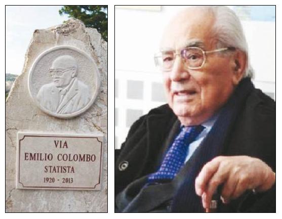 La stele in via Emilio Colombo con il bassorilievo del senatore a vita (foto A. MATTIACCI) e un primo piano del politico dc morto 5 anni fa