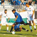 Matera - Potenza Coppa Italia Il tiro di Dellino che ha deciso la partita (foto di Andrea Mattiacci).png