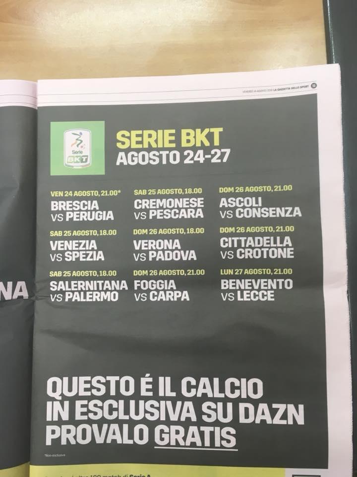 Serie B, oggi il via con la prima gara di campionatoMa Dazn Tv sbaglia i nomi di Carpi e Cosenza