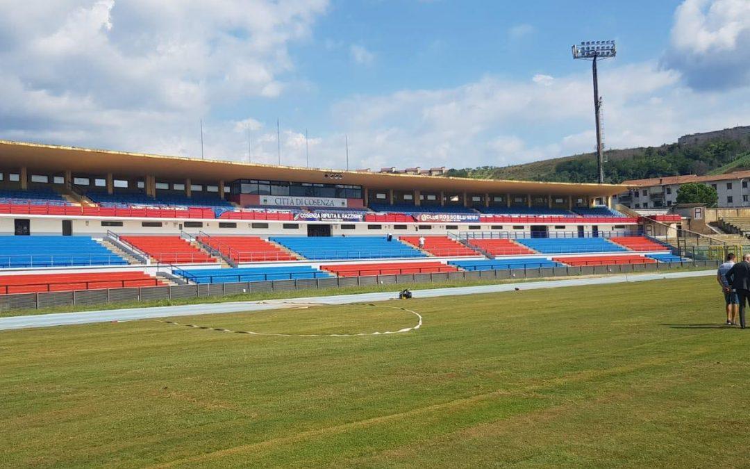 Lo stadio San Vito Marulla di Cosenza dove oggi è in programma Cosenza-Lecce