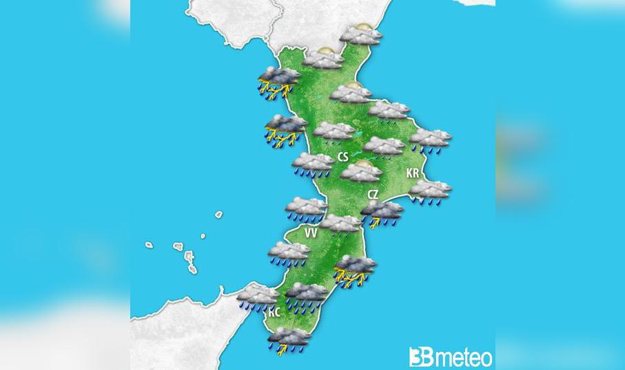 Nuova allerta meteo Arancione su parte della Calabria  Temporali e forti venti sul versante ionico e basso tirrenico