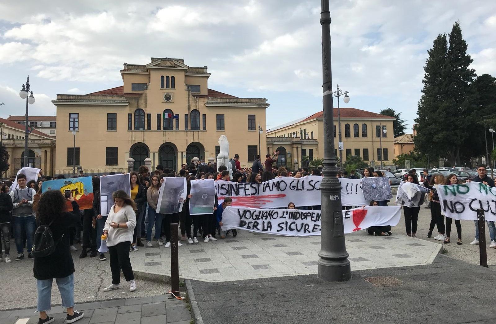 Studenti in piazza per chiedere strutture sicureUna delegazione incontra il sindaco di Vibo Costa
