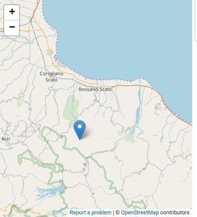 Scossa sismica in provincia di CosenzaRegistrata una magnitudo pari a 2.7