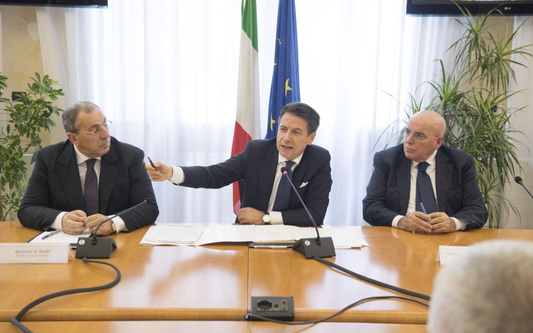 Il presidente Conte durante la sua ultima visita in Calabria