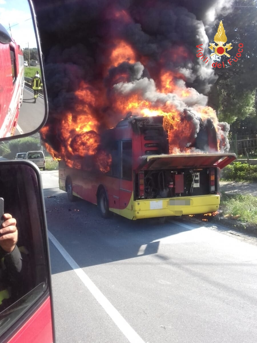 Autobus dell'Amc in fiamme per strada a Catanzaro  Autista scende in tempo, l'automezzo è distrutto