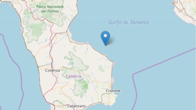 Scossa sismica nella notte al largo del CosentinoRegistrato dall'Ingv un sisma di magnitudo 3.1