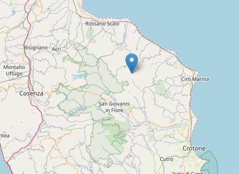 Due terremoti tra le province di Cosenza e CrotoneLa scossa più forte ha avuto una magnitudo 3.3