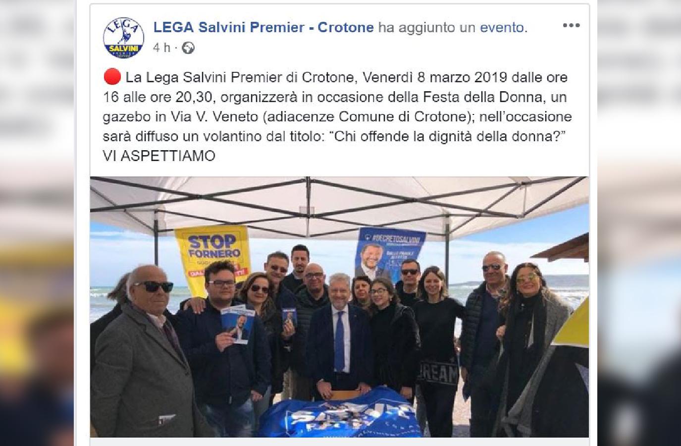 Festa della Donna, volantino della Lega di CrotoneScoppia la polemica. Salvini prende le distanzeCondanna delle ministre Cinquestelle: «Scioccante»
