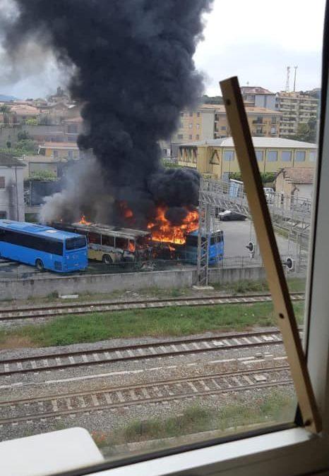 FOTO – Incendio distrugge tre autobus in pieno giorno nell'autostazione di Soverato, indagini in corso