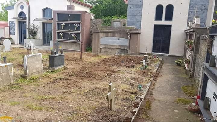 FOTO – Incursione di cinghiali al cimitero  Danni alle tombe a Sorianello