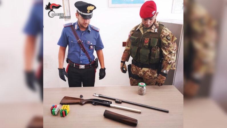 Fucile, munizioni e semi di marijuana ritrovati in un bidone nella Locride