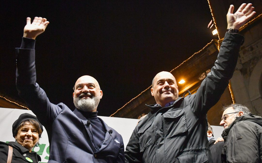 Il governatore dell'Emilia Romagna, nonché presidente della Conferenza Stato-Regioni, Stefano Bonaccini con Nicola Zingaretti
